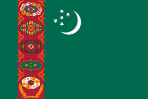 Sovereign state flag of country of Turkmenistan in official colors.